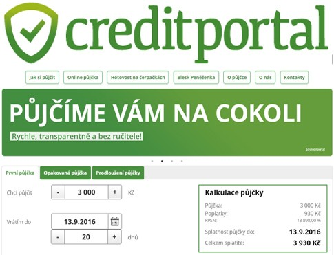 CreditPortal - Nebankovní rychlá půjčka, recenze, testování
