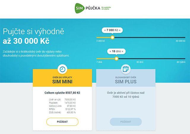 Recenze: SIM půjčka až do výše 30 000 Kč - Tabulka